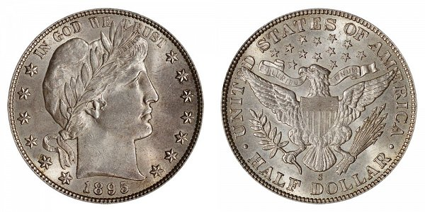 1895 S Barber Silver Half Dollar