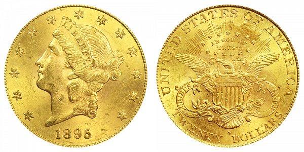 1895 S Liberty Head $20 Gold Double Eagle - Twenty Dollars