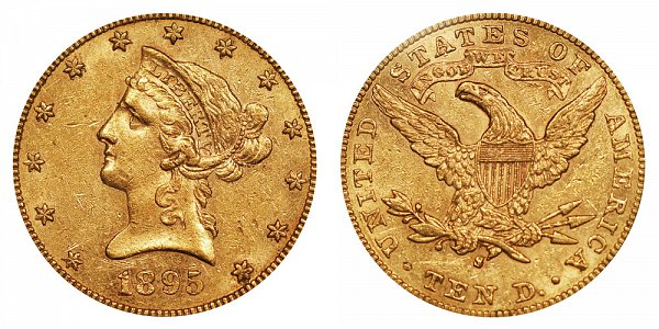 1895 S Liberty Head $10 Gold Eagle - Ten Dollars