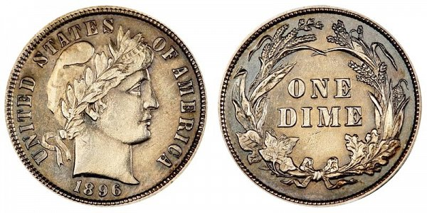 1896 Silver Barber Dime