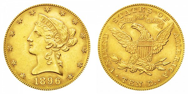 1896 Liberty Head $10 Gold Eagle - Ten Dollars