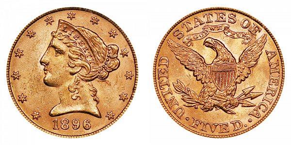 1896 Liberty Head $5 Gold Half Eagle - Five Dollars