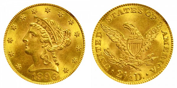1896 Liberty Head $2.50 Gold Quarter Eagle - 2 1/2 Dollars