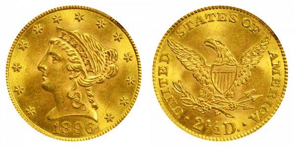 1896 Liberty Head $2.50 Gold Quarter Eagle - 2 1/2 Dollars