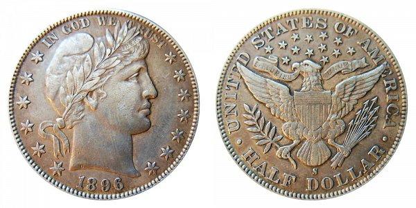 1896 S Barber Silver Half Dollar
