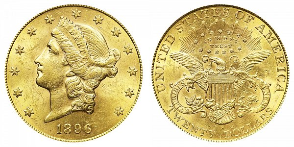 1896 S Liberty Head $20 Gold Double Eagle - Twenty Dollars