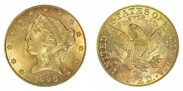 1896 S Liberty Head $5 Gold Half Eagle - Five Dollars