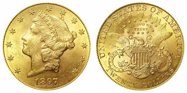 1897 Liberty Head $20 Gold Double Eagle - Twenty Dollars