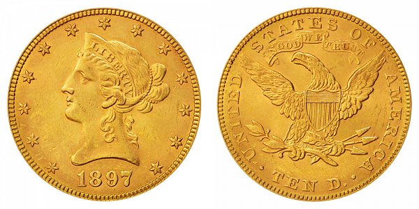 1897 Liberty Head $10 Gold Eagle - Ten Dollars