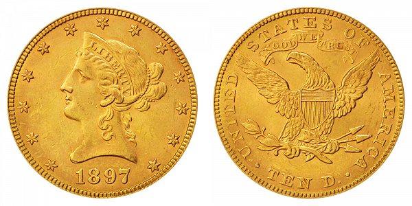 1897 Liberty Head $10 Gold Eagle - Ten Dollars
