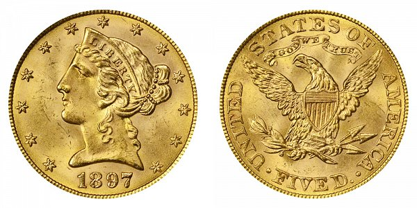 1897 Liberty Head $5 Gold Half Eagle - Five Dollars