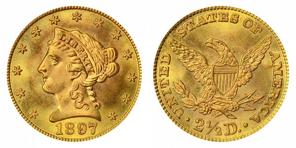 1897 Liberty Head $2.50 Gold Quarter Eagle - 2 1/2 Dollars