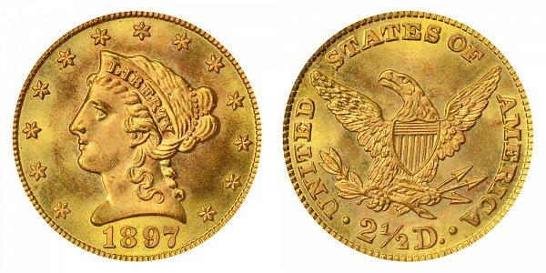 1897 Liberty Head $2.50 Gold Quarter Eagle - 2 1/2 Dollars