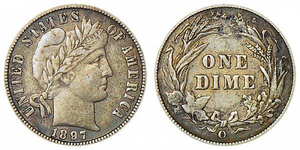 1897 O Silver Barber Dime