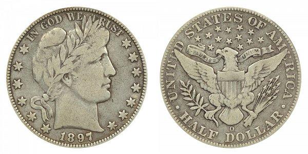 1897 O Barber Silver Half Dollar