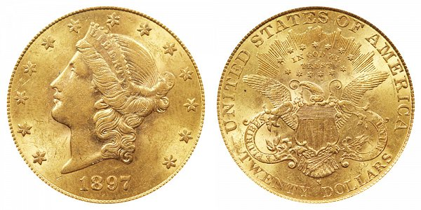 1897 S Liberty Head $20 Gold Double Eagle - Twenty Dollars