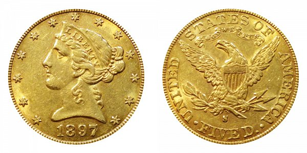 1897 S Liberty Head $5 Gold Half Eagle - Five Dollars