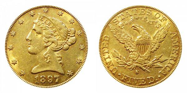 1897 S Liberty Head $5 Gold Half Eagle - Five Dollars