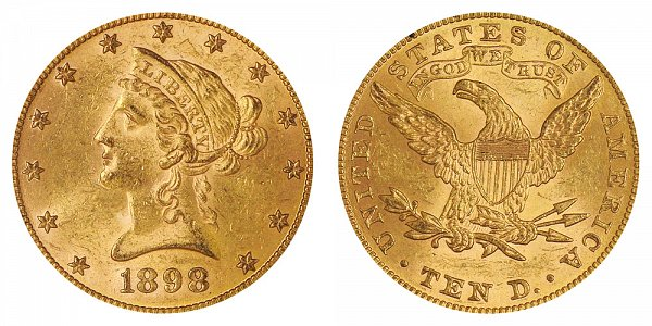 1898 Liberty Head $10 Gold Eagle - Ten Dollars