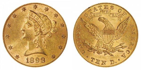 1898 Liberty Head $10 Gold Eagle - Ten Dollars