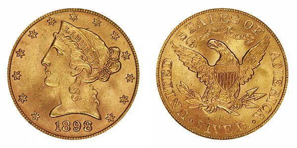 1898 Liberty Head $5 Gold Half Eagle - Five Dollars