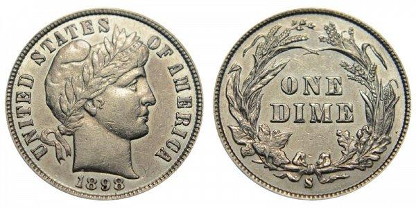 1898 S Silver Barber Dime