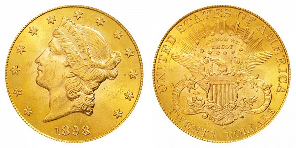 1898 S Liberty Head $20 Gold Double Eagle - Twenty Dollars