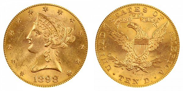 1898 S Liberty Head $10 Gold Eagle - Ten Dollars