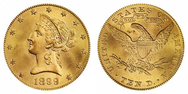 1899 Liberty Head $10 Gold Eagle - Ten Dollars