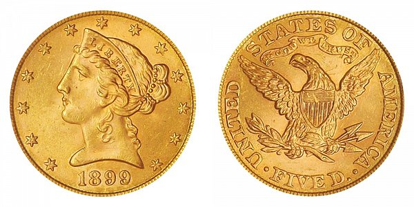 1899 Liberty Head $5 Gold Half Eagle - Five Dollars