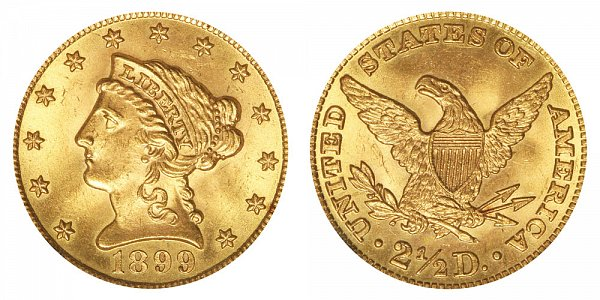 1899 Liberty Head $2.50 Gold Quarter Eagle - 2 1/2 Dollars