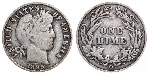 1899 O Silver Barber Dime