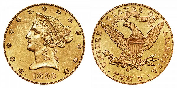 1899 O Liberty Head $10 Gold Eagle - Ten Dollars