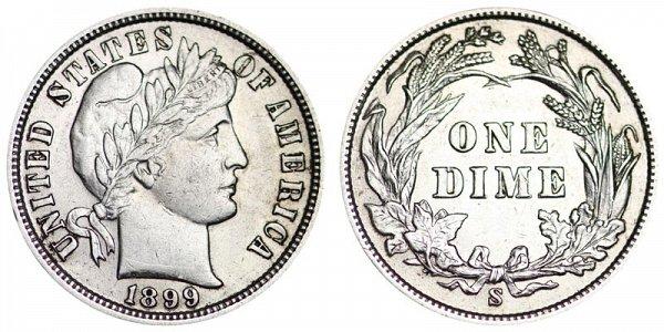 1899 S Silver Barber Dime