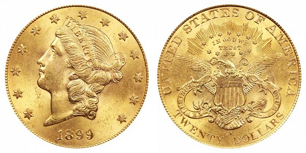 1899 S Liberty Head $20 Gold Double Eagle - Twenty Dollars