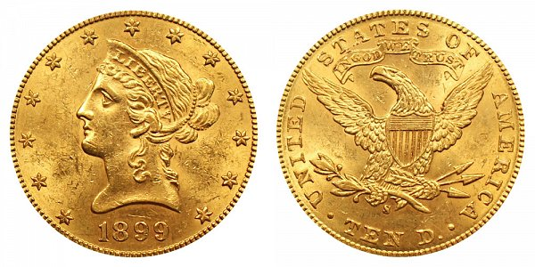 1899 S Liberty Head $10 Gold Eagle - Ten Dollars