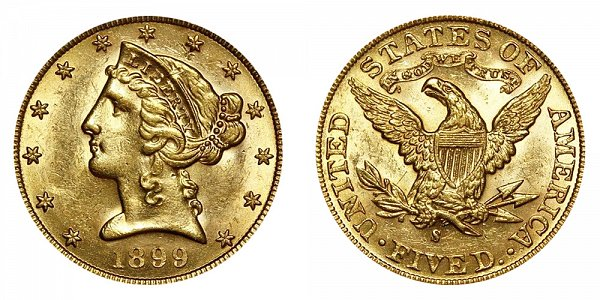 1899 S Liberty Head $5 Gold Half Eagle - Five Dollars