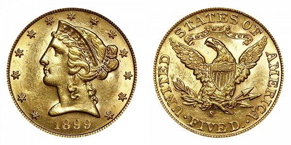 1899 S Liberty Head $5 Gold Half Eagle - Five Dollars