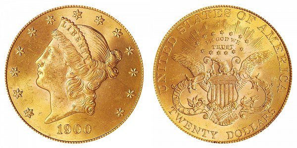 1900 Liberty Head $20 Gold Double Eagle - Twenty Dollars