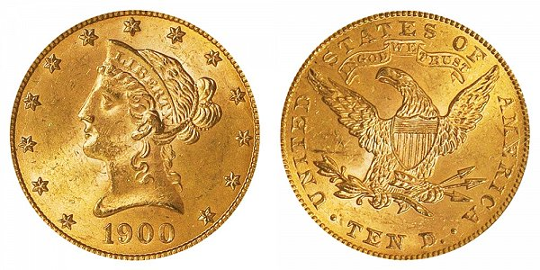 1900 Liberty Head $10 Gold Eagle - Ten Dollars
