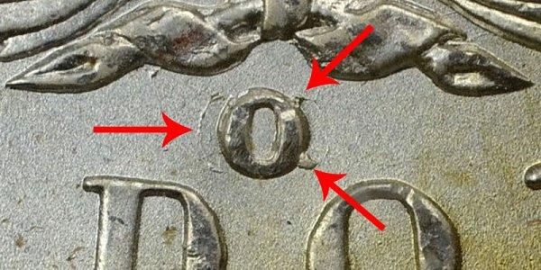 1900-O/CC Morgan Silver Dollar - O Over CC Mintmark- Closeup Image Example