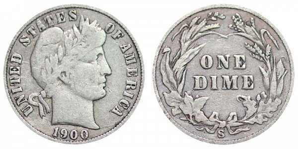 1900 S Silver Barber Dime