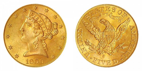 1900 S Liberty Head $5 Gold Half Eagle - Five Dollars