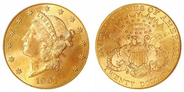 1901 Liberty Head $20 Gold Double Eagle - Twenty Dollars