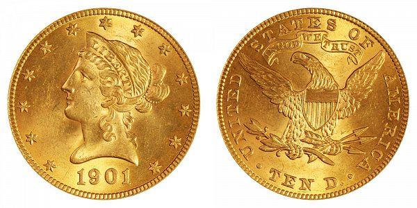 1901 Liberty Head $10 Gold Eagle - Ten Dollars