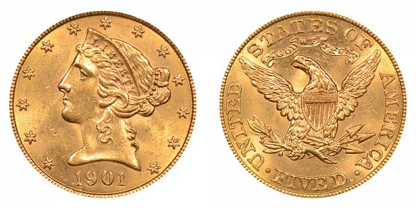 1901 Liberty Head $5 Gold Half Eagle - Five Dollars