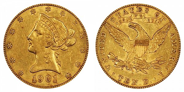 1901 O Liberty Head $10 Gold Eagle - Ten Dollars