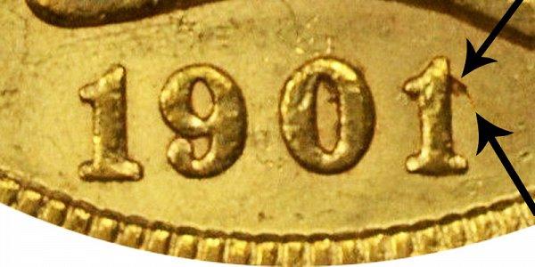 1901/0 Liberty Head Gold Half Eagle - 1 Over 0 Overdate - Closeup Example Image