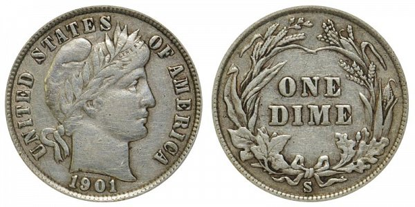 1901 S Silver Barber Dime