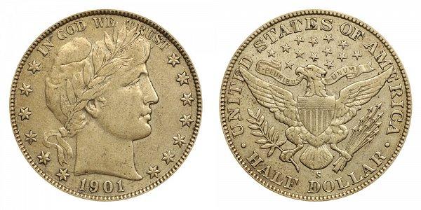 1901 S Barber Silver Half Dollar